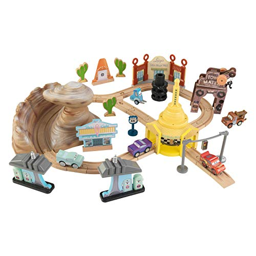 Disney KIDKRAFT Pixar Cars 3 Radiator Springs 50 Piece Wooden Track Set with Accessories