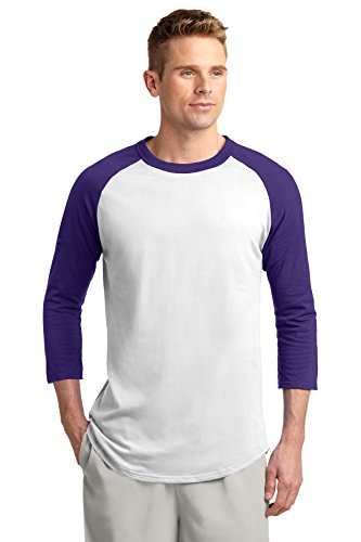 Sport-Tek Men's Colorblock Raglan Jersey XXL White/Purple ()