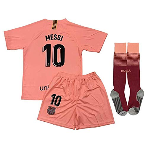 Speed Johng Messi #10 FC Barcelona 2018-2019 Kids/Youths Champions League 3rd Soccer Jersey & Shorts & Socks Size(12-13years) Pink (Fc Barcelona Jersey Kids)