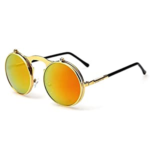 G&T 2016 Retro Fashion Metal Frame Clamshell Lens Round Beach Sunglasses(C5)