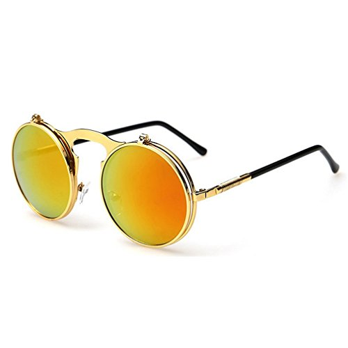 G&T 2016 Retro Fashion Metal Frame Clamshell Lens Round Beach Sunglasses(C5)