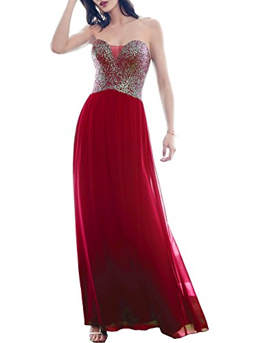 Women Gown Evening Bridal L099 Long Prom for Red Dresses Sequins Beauty Sweetheart Party v6qZT0