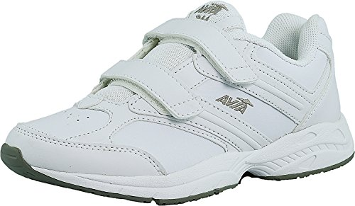 Womens Velcro Sneakers - Avia Women's AVI-Walker Strap, White/Grey/Yellow, 7.5 M US