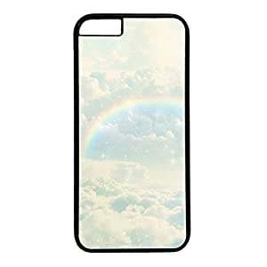 Hard Back Cover Case for iphone 6 Plus,Cool Fashion Black PC Shell Skin for iphone 6 Plus with Rainbow Line Deco