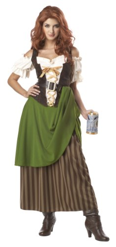 [California Costumes Tavern Maiden Adult Costume, Olive/Brown, Medium] (Renaissance Costumes Womens)