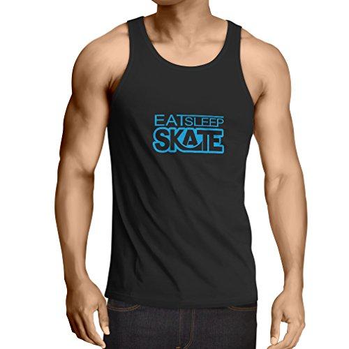 Vest Eat Sleep Skate - for Skaters, Skate Longboard, Skateboard Gifts (Small Black Blue) ()