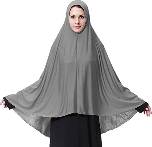 Ababalaya Women's Elegant Modest Muslim Islamic Ramadan Soft Lightweight Jersey Hijab Long Scarf,Gray,M