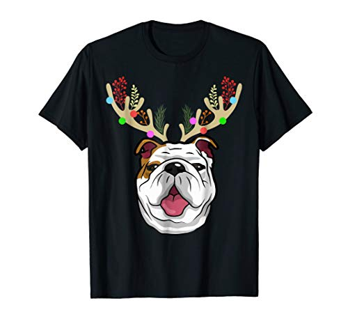 (XMAS Funny Bulldogs with Antlers Christmas T Shirt Xmas Tee)