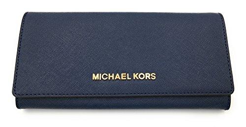 Michael Kors Jet Set Saffiano Leather Carryall Wallet (Navy) by Michael Kors