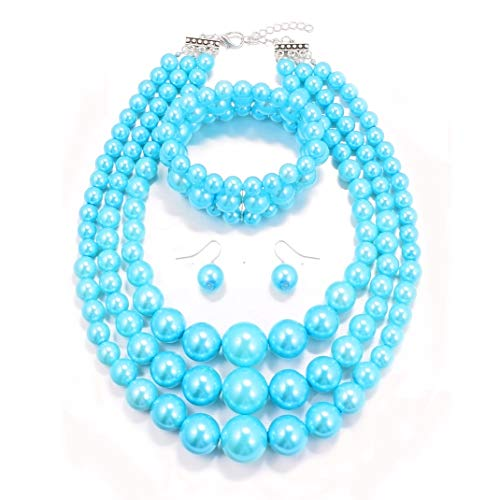 MJULY Womens Faux Pearl Costume Jewelry 3 Layers Pearl Chunky Necklace Bracelet and Earrings (Blue)