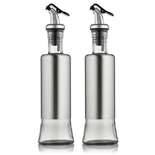 - FARI Stainless Steel Olive Oil Dispenser Bottle Set, 2 Pack of 10oz Glass Cooking Oil & Vinegar Cruet Set for Kitchen and BBQ