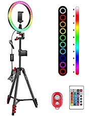 """Neewer 10"""" RGB Ring Light with Tripod Stand & 2 Phone Holders, Dimmable Selfie Ring Light with Remote Control, 16 Colors, 4 Flash Modes and Selfie Remote for Makeup/Live Streaming/YouTube/TikTok"""