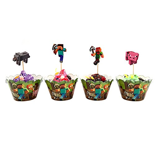 Price comparison product image 24 Packs Pixel Miner Cupcake Toppers Children's Birthday Parties for Dessert Cake Decoration Minecft Cupcake Wrappers for Birthday Party Event Decor
