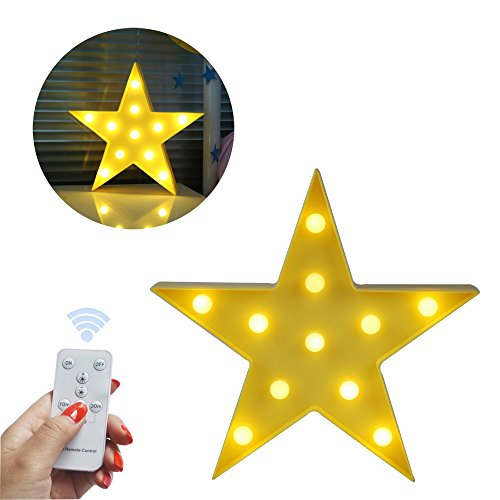 - Obrecis Light Up Star Marquee Sign,Marquee Star Night Lights with Remote Timer Dimmable For Children Kids Gift Bedroom Baby Nursery Lamp (RC Yellow Star)