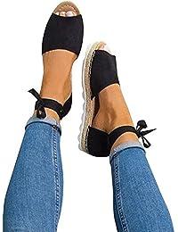 Womens Ankle Buckle Straps Espadrilles Cut out Tie up Rivet Classic Summer Flat Sandal Shoes