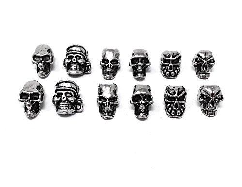 Honbay 12 piezas Mini calavera espaciador abalorio para bricolaje joyería hacer collar pulseras arete cordones accesorios