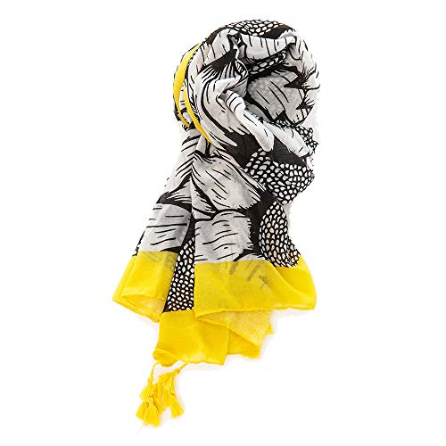 Cotton and linen scarf with sunflower print tassel trim - Linen Prints Scarf Cotton