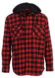 Gioberti Men's Removable Hood Plaid Flannel Shirt, Black/Red Checked Plaid, Large