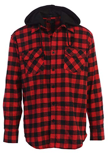 Gioberti Men's Removable Hoodie Plaid Checkered Flannel Shirt, Black/Red Checked Plaid, Large
