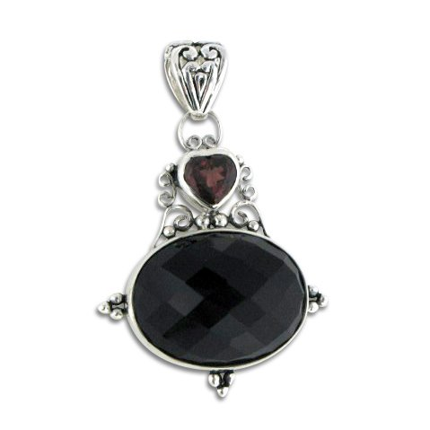 Silver Genuine Garnet Pendant (Faceted Black Onyx and Genuine Red Garnet Sterling Silver Slider Slide Pendant)