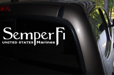 Semper Fi Car Decal (White) - Auto Decal - Truck Decal - SUV Decal - Window Sticker - Window Decal - Marine Decal - Army Decal - Military Decal - (White)