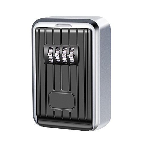 Key Lock Box 4-Digital Combination Resettable Key Cabinet High Strength Zinc Alloy Key Storage Box Wall Mount Safe Weather Resistance for Home and Office