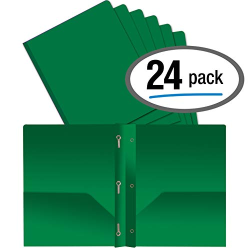 Better Office Products Green Plastic 2 Pocket Folders with Prongs, Heavyweight, Letter Size Poly Folders, 24 Pack, with 3 Metal Prongs Fastener Clips, Green - Two Green Pocket