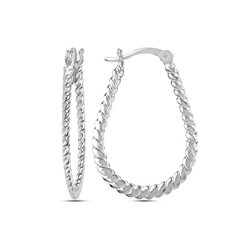 LeCalla Sterling Silver Jewelry Flat Twisted Wire Hoop Earring for Teen