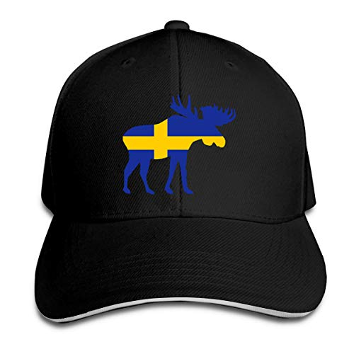 Youbah-01 Women's/Men's Swedish Flag and Moose Adult Adjustable Snapback Hats Peaked Cap Black (Hunt Adult T-shirt)