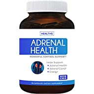 Adrenal Support & Cortisol Manager (Non-GMO) Powerful Adrenal Health with L-Tyrosine & Ashwagandha - Maintain Balanced Cortisol Levels & Stress Relief - Fatigue Supplement - 60 Capsules