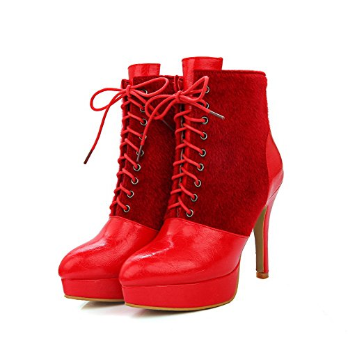 AmoonyFashion top Boots Women's Heels Microfiber Pointed Lace Red Low Toe Closed High up 1r1xwqZF