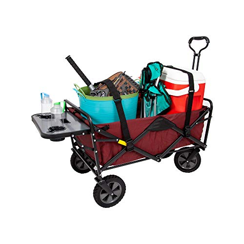 Mac Sports Collapsible Folding Wagon with Wheels for Outdoor Utility with Table, Drink Holders and Straps, Maroon