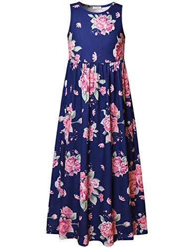 (Girls Sun Dresses 7-16 Maxi Blue Floral Print Sleeveless Green Summer)