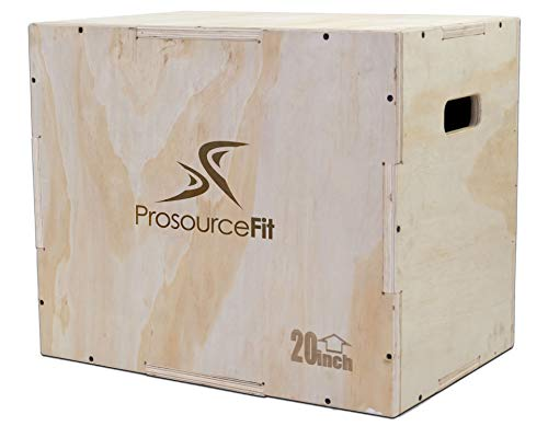 Prosource Fit 3-in-1 Wood Plyometric Jump Box for Crossfit, Agility, Vertical Jump Training & Plyo Workouts, Sizes 24/20/16 (Fit 24)
