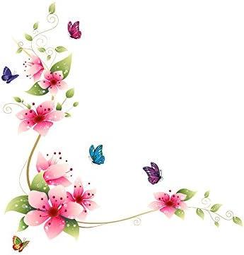 SUND ウォールステッカー 蝶と花 紋柄 かわいい カートン 風格 オシャレ 壁紙シール 安心 PVC製 壁飾り インテリア 雰囲気変貌 模様簡単替え 剥がせる 防水加工 64x62cm