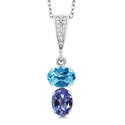 - Gem Stone King 2.67 Ct Oval Checkerboard Swiss Blue Topaz Blue Mystic Topaz 925 Silver Pendant