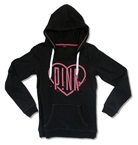 Heart Logo Tee - Pink P!NK Heart Logo Women's Black Pull Over Sweatshirt Hoodie (M)