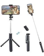 Selfie Stick stativ med fjärrkontroll, 360° rotation 3 i 1 trådlös selfie-stång monopod trådlös kompakt, TikTok Selfie-pinne med mycket hållbar aluminium och halkfria mobiltelefonstativ fötter