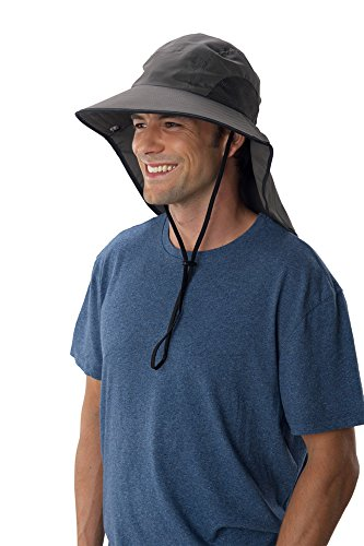 Sun Protection Zone Unisex Lightweight Adjustable Outdoor Floppy Sun Hat (100 SPF, UPF 50+) - Charcoal with Black Trim