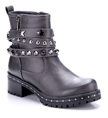 Schuhtempel24 Damen Schuhe Boots Stiefel Stiefeletten Blockabsatz Nieten/Reißverschluss 5 cm Grau