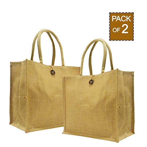 (Jute Market Bags Medium SIze Natural and Reusable Jute Shopping Totes from Earthbags (Pack of 2))