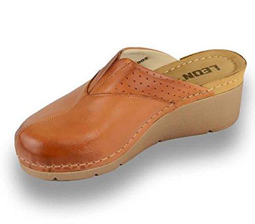 Sabots Chaussures LEON Dames Marron Chaussons Femme en 1002 Mules Cuir Tq45wgAxp