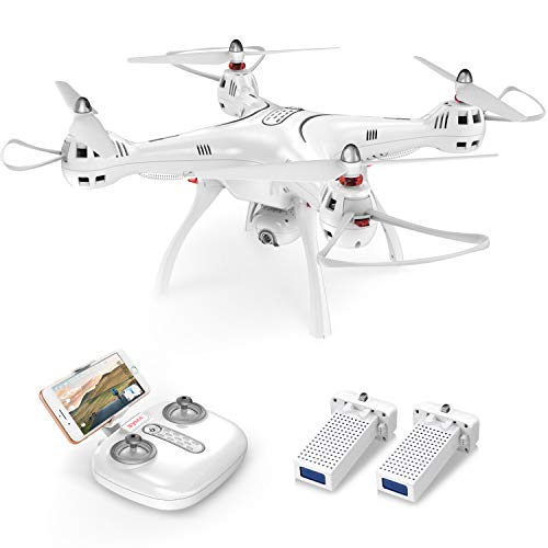 Syma X8PRO GPS FPV RC Drone with Adjustable Wide-Angle 720P HD Camera Live Video and Bonus Battery, White