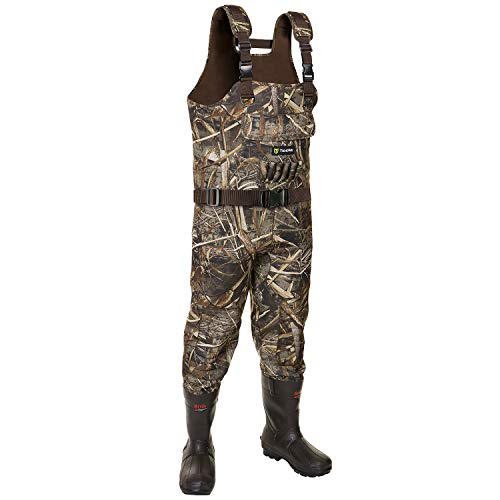 TideWe Chest Waders, Hunting Waders for Men Realtree MAX5 Camo with 800G Insulation, Waterproof Cleated Neoprene Bootfoot Wader, Insulated Hunting & Fishing Waders (Size 10)