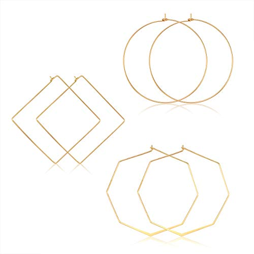 (YAHPERN Geometric Hoop Earrings for Women Lightweight Thin Wire Thread Octagon Square Hoop Earrings Fashion Minimalist Jewelry for Women (Gold Square Circle Octagon))