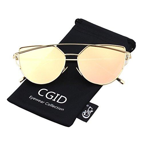 CGID Moderne Modische Spiegel Polarisierte Katzenauge Sonnenbrille Brille UV400,Gold Rosa