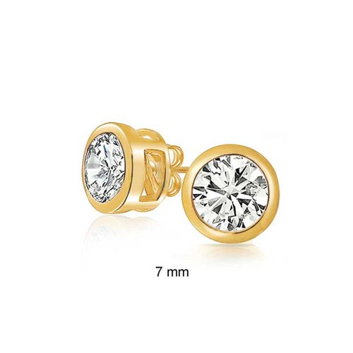 Gold Plated Bezel Round CZ Men Stud Earrings 925 Silver 7mm
