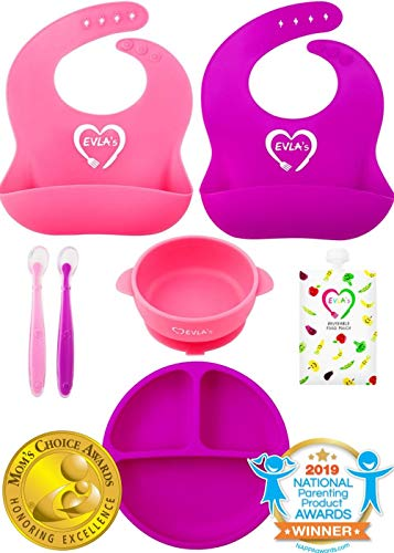 Baby Feeding Set | Silicone Bib Plates Bowls Spoons | Divided Plate Suction Bowl & Soft Spoon Aids Self Feeding | Adjustable Bib Easily Wipe Clean | Spend Less Time Cleaning Up After Toddler/Babies from EVLA'S