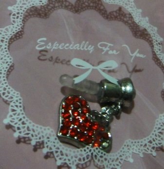 CJB Dust Plug / Earphone Jack Accessory Red Rhinestone Heart for iPhone 4 4s S4 5 All Device with 3.5mm Jack (US Seller)