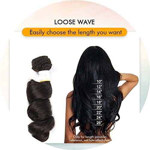 brazilian loose wave bundles with closure human hair with closure 4 bundles deal remy Smooth For Black Women,12 & 14 & 16 & Closure 10,Natural Color,Free Part ()